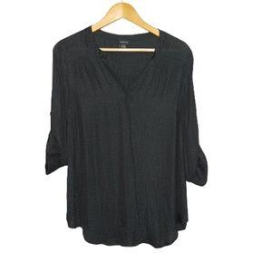 TORRID Black Semi Sheer Pullover Blouse Size 0